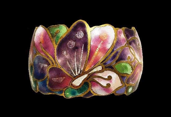 Champleve enamel cuff bracelet, a true piece of artwork