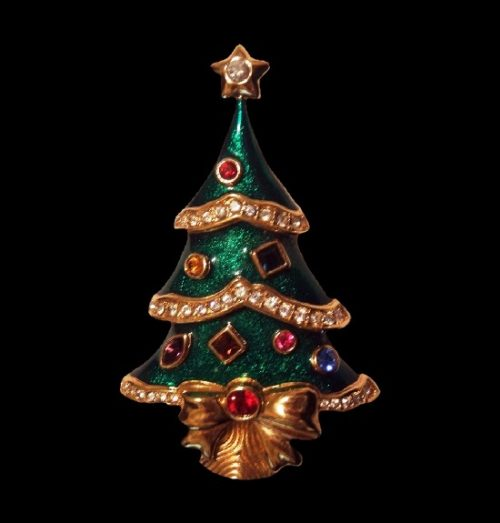 Christmas tree brooch. Gold tone, enamel, rhinestones
