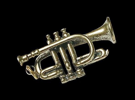 Coronet trumpet bronze tone charm pendant. 1980s