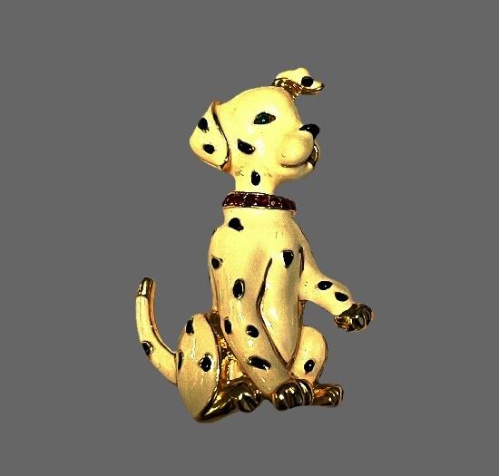 Dalmatian puppy brooch. Enamel, gold tone metal alloy, rhinestones