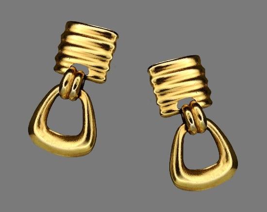 Dangle door-knocker gold tone clip on earrings