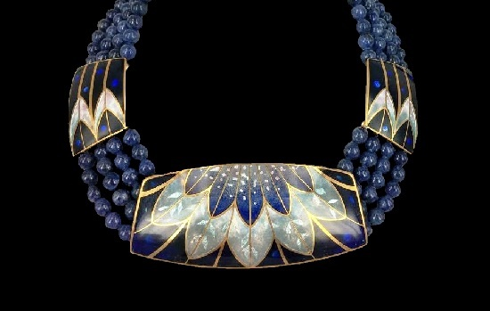 Dark blue glass beaded gold filled necklace and enameled pendant