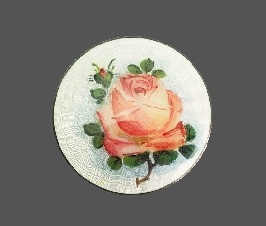 Delicate pink rose round shaped brooch pin. Sterling silver, enamel