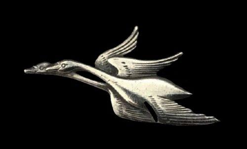 Designed by Georg Jensen flying swans sterling silver pendant. 1982