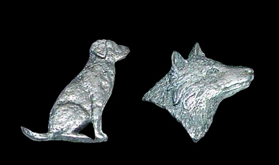 Dog and wolf pewter lapel pins