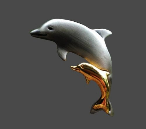 Dolphin mother and baby brooch. Fine pewter, 18 K gold plated
