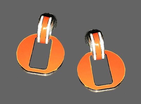 Door knocker design pierced earrings. Orange enamel, silver tone metal. 1970s