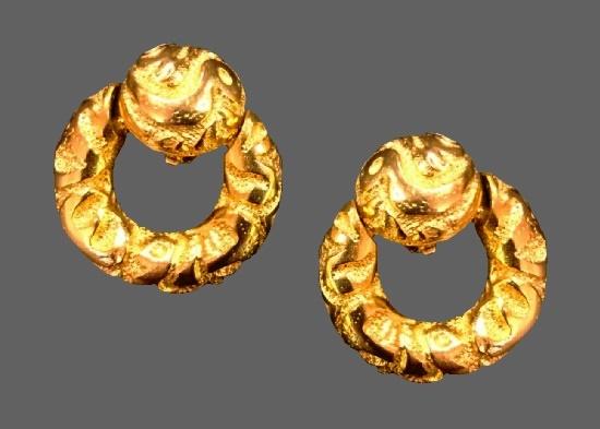 Door knocker gold tone clip on earrings