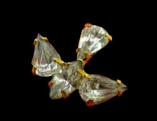 Dove bird brooch. Gold tone, Austrian crystals. 1995