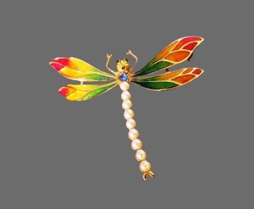 Dragonfly brooch. Gold tone metal alloy, enamel, faux pearls, rhinestones