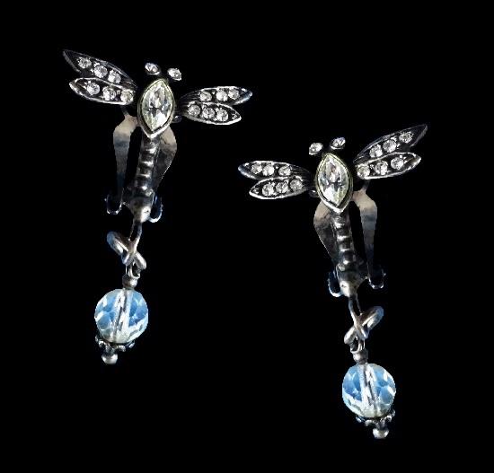 Dragonfly dangling clip on earrings. Metal, rhinestones, glass