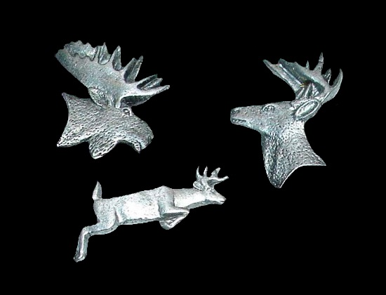 Elk, deer, moss pewter pins