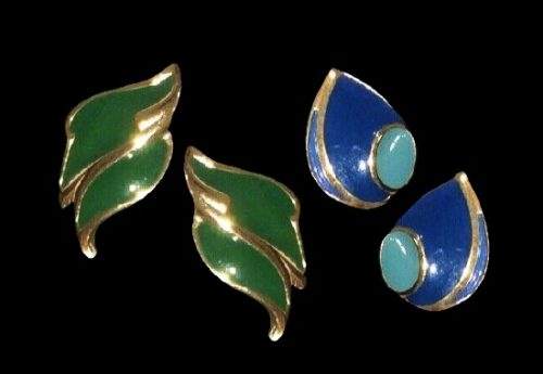 Enameled gold plated glass cabochon earrings