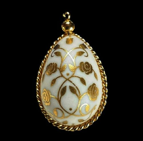 Faberge egg gold plated pendant