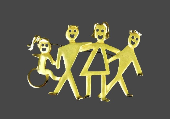 Family mum dad and two kids gold tone brooch