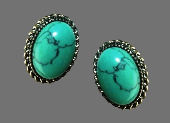 Faux turquoise silver tone clip on earrings