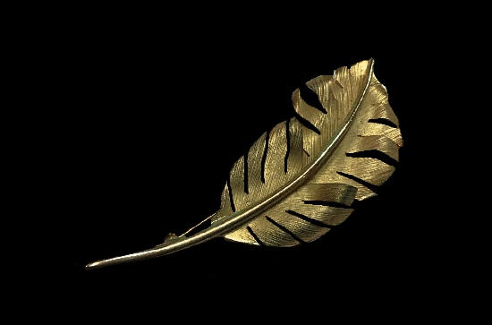 Feather gold filled brooch. 6.6 cm