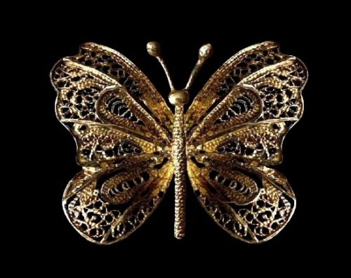 Filigree butterfly brooch. Gold plated sterling silver