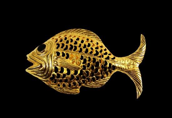 Fish gold tone black enamel belt buckle