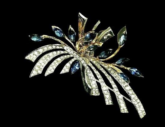 Flower spray brooch. Sterling silver vermeil rhinestones. 1950s