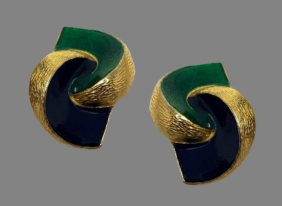 Geometric design clip on earrings. Blue and green enamel, gold tone