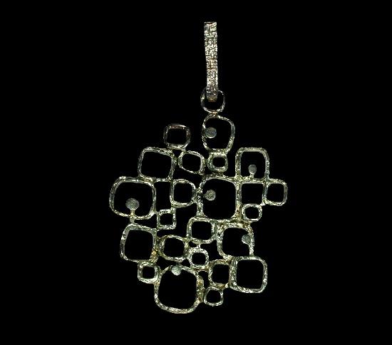 Geometric design sterling silver pendant