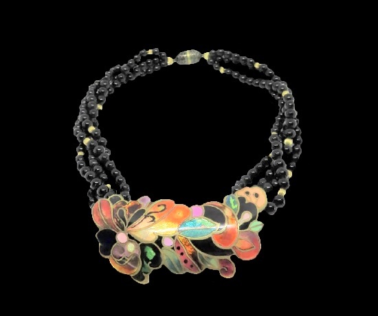 Glass bead enameled necklace and pendant. 1980s