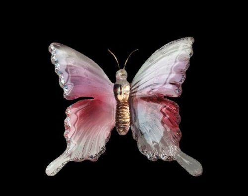 Glass butterfly brooch. 1980s