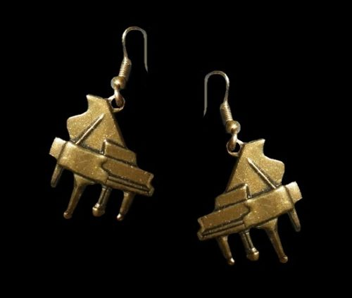 Grand piano bronze tone pierced earrings