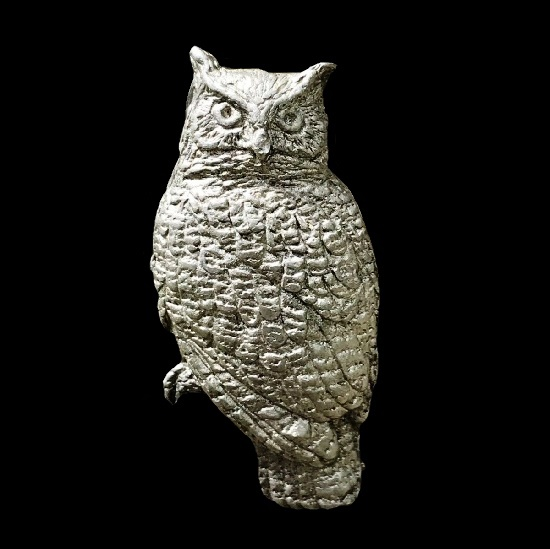 Great Horned Owl pewter lapel pin. 1988