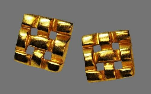 Grid design gold tone clip on earrings