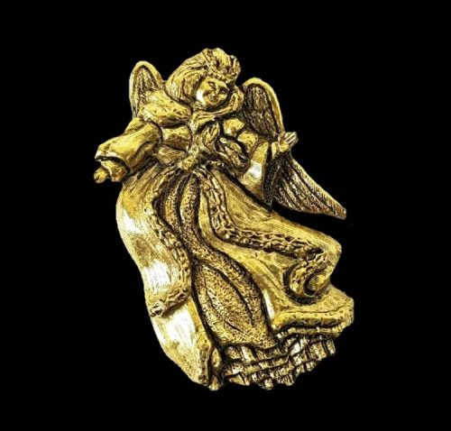 Guardian Angel textured gold tone brooch