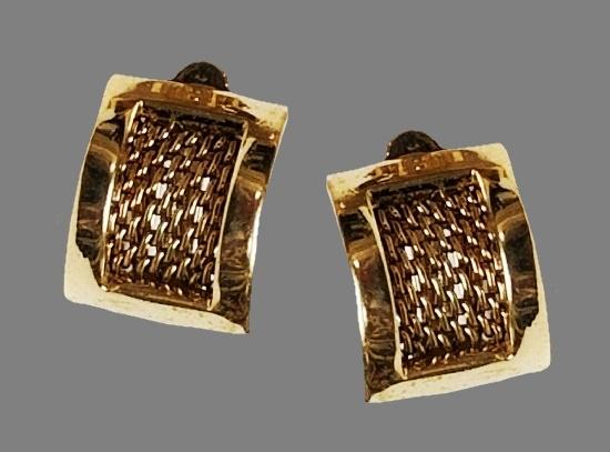 Half hoop gold tone clip on earrings