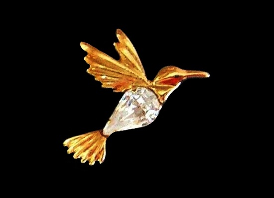 Hummingbird pin. Gold tone, Austrian crystal