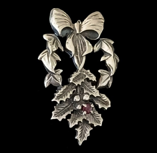 Holly and bow Christmas pendant. Sterling silver