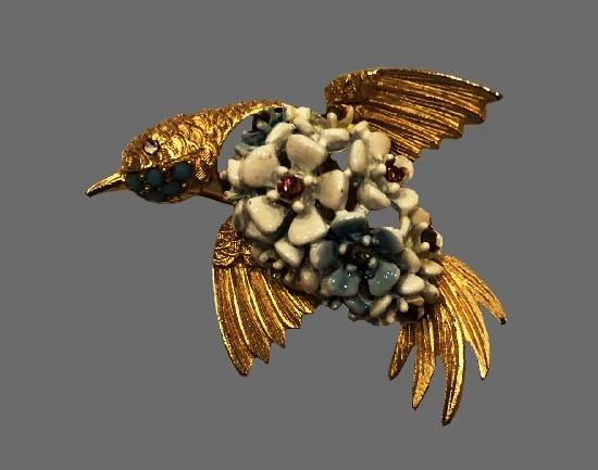 Hummingbird brooch. Gold tone metal, art glass. 1960s