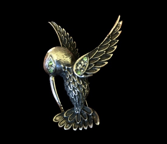 Hummingbird silver tone rhinestones brooch