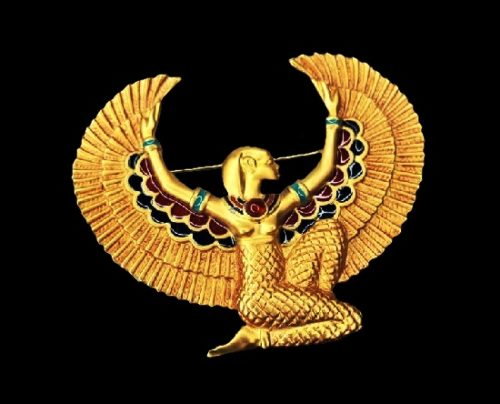 Isis The Protectress brooch pin from Jewels of Tutankhamun collection. 24 K gold