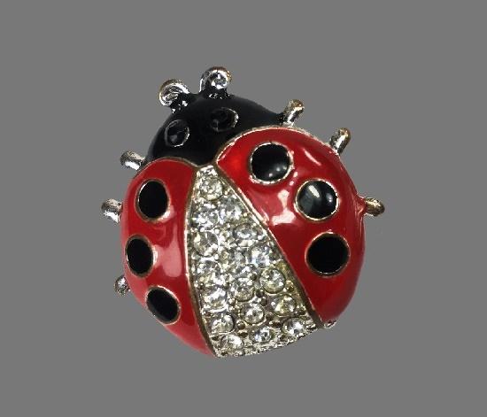 Lady Bug brooch. Silver tone metal alloy, red and black enamel, rhinestones
