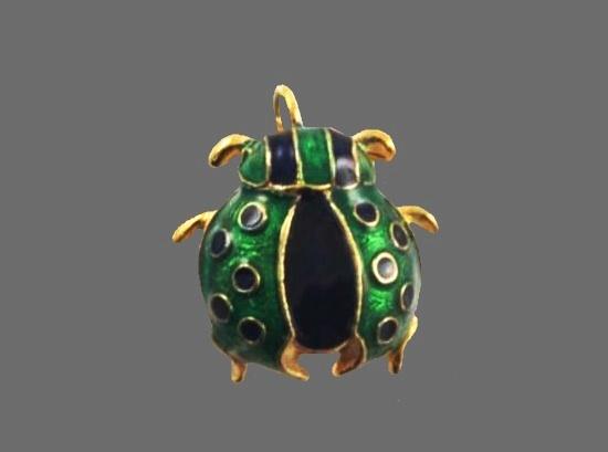 Lady Bug pendant. Gold tone, enamel