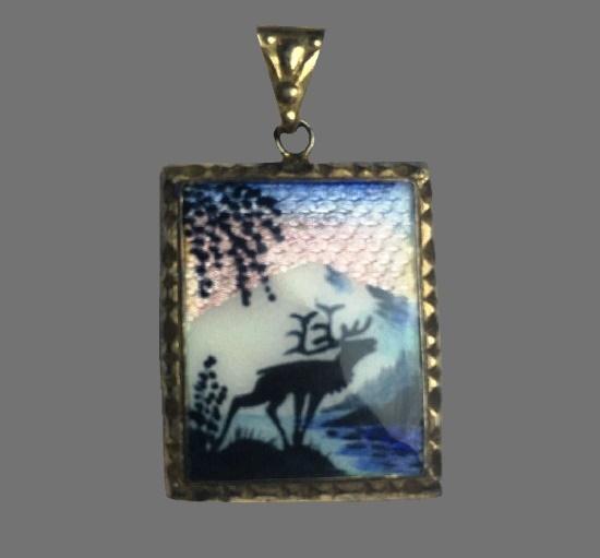 Landscape with elk guilloche enamel sterling silver pendant