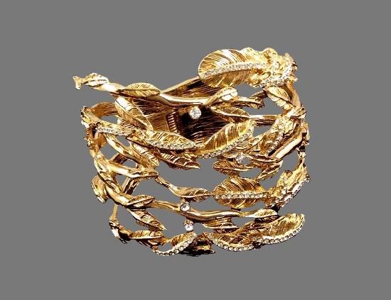 Leaf design gold tone rhinestones cuff bracelet