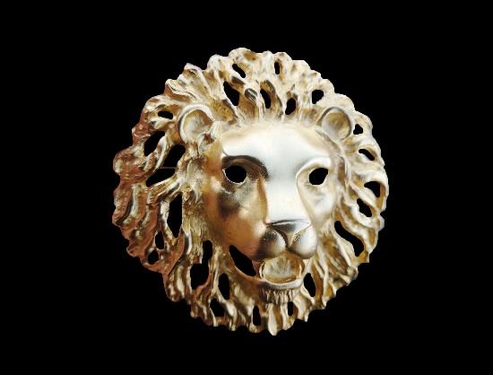 Lion head brooch. Gold tone alloy, enamel. 8.5 cm. 1990s