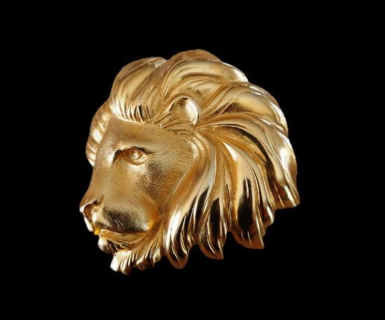 Lion head brooch. Gold tone alloy, enamel. 8.5 cm. 199