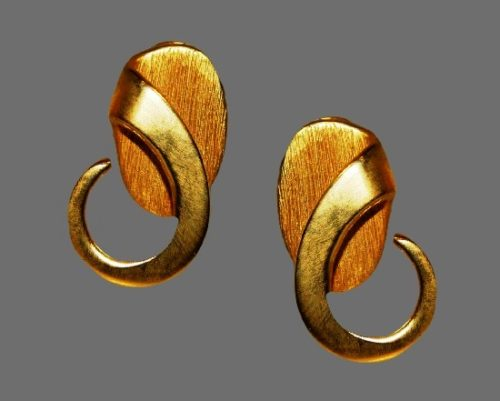 Made for Asymmetry matte gold plated clip on earrings