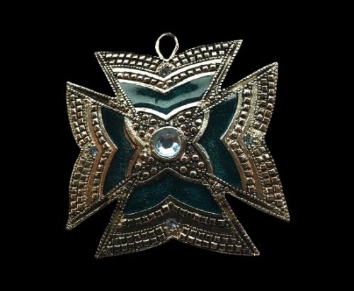 Maltese cross pendant. Silver tone, enamel, crystal. 1970s