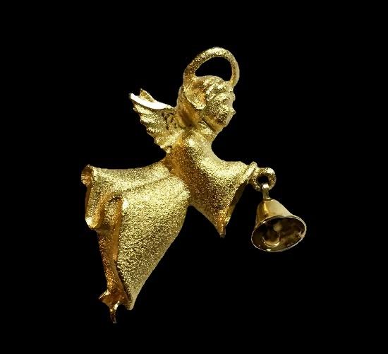 Matte gold tone Angel holding dangling bell brooch pin