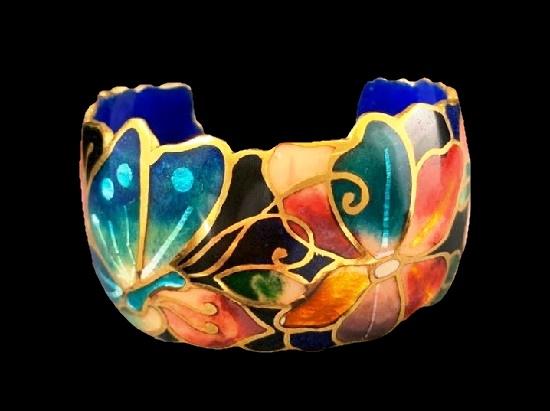 Multicolor Champleve Enamel cuff bracelet. 1980s
