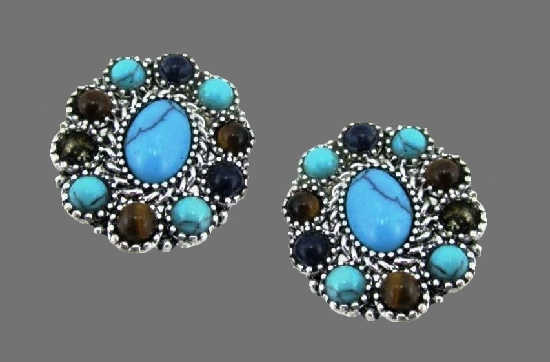 Multicolor glass cabochons silver tone earrings
