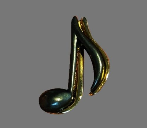 Music note brooch pin. Pewter and gold tone alloy